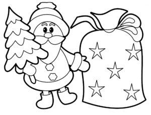 Coloriage du Père Noël et de sa Hotte   Le Papa Noël.fr